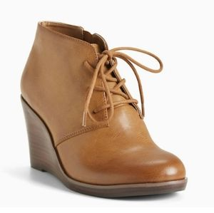 Torrid Cognac 9.5W Wedge Lace Up Bootie